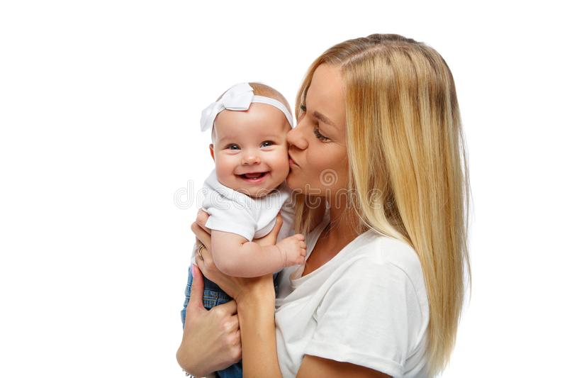 Beautiful young mother with toddler baby girl stock photography