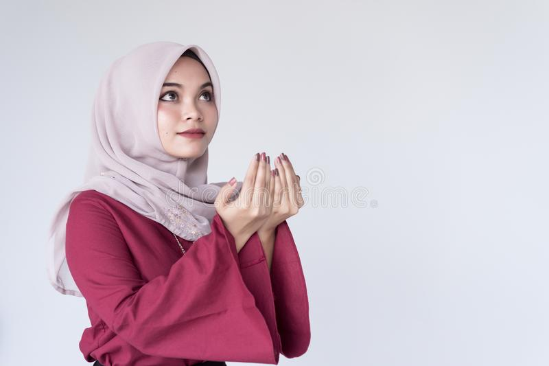 Beautiful Young Muslim Girl Duaa Praying for God,. Duaa Concept.Eid al-Fitr day stock image