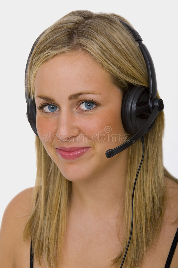 Beautiful Young Operator stock image