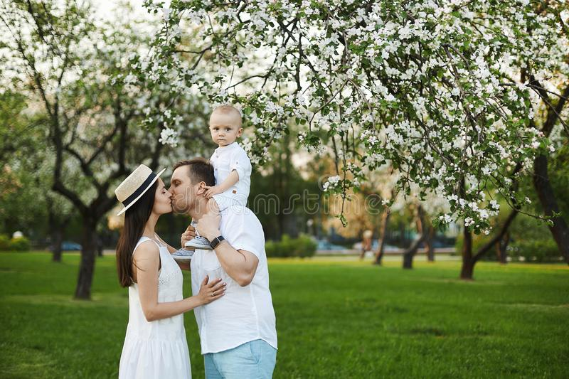 Beautiful young parents and their cute little son have fun at the green park stock image