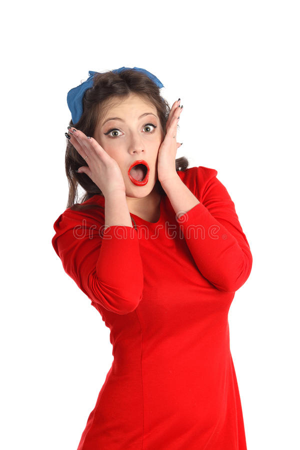 Beautiful young pin-up style model screaming of horror over whit stock images