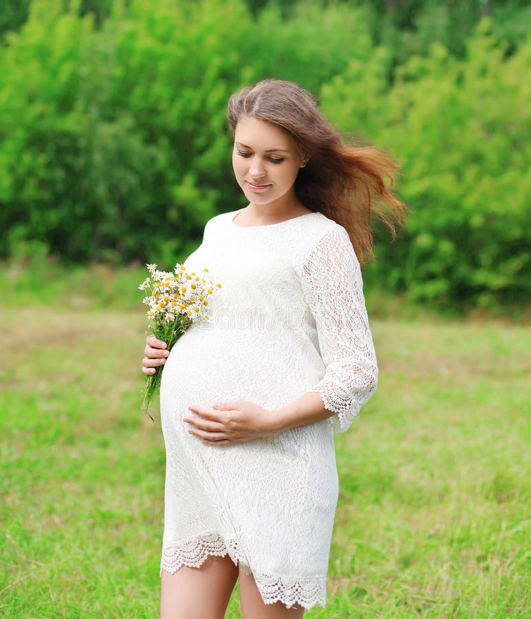 Beautiful young pregnant woman with chamomiles flowers stock image