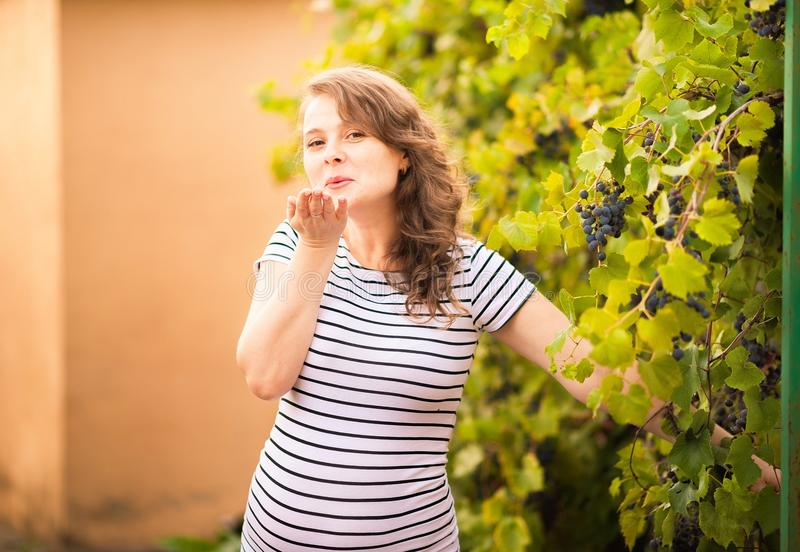 Beautiful young pregnant woman is standing in the summer near the grapes royalty free stock photos