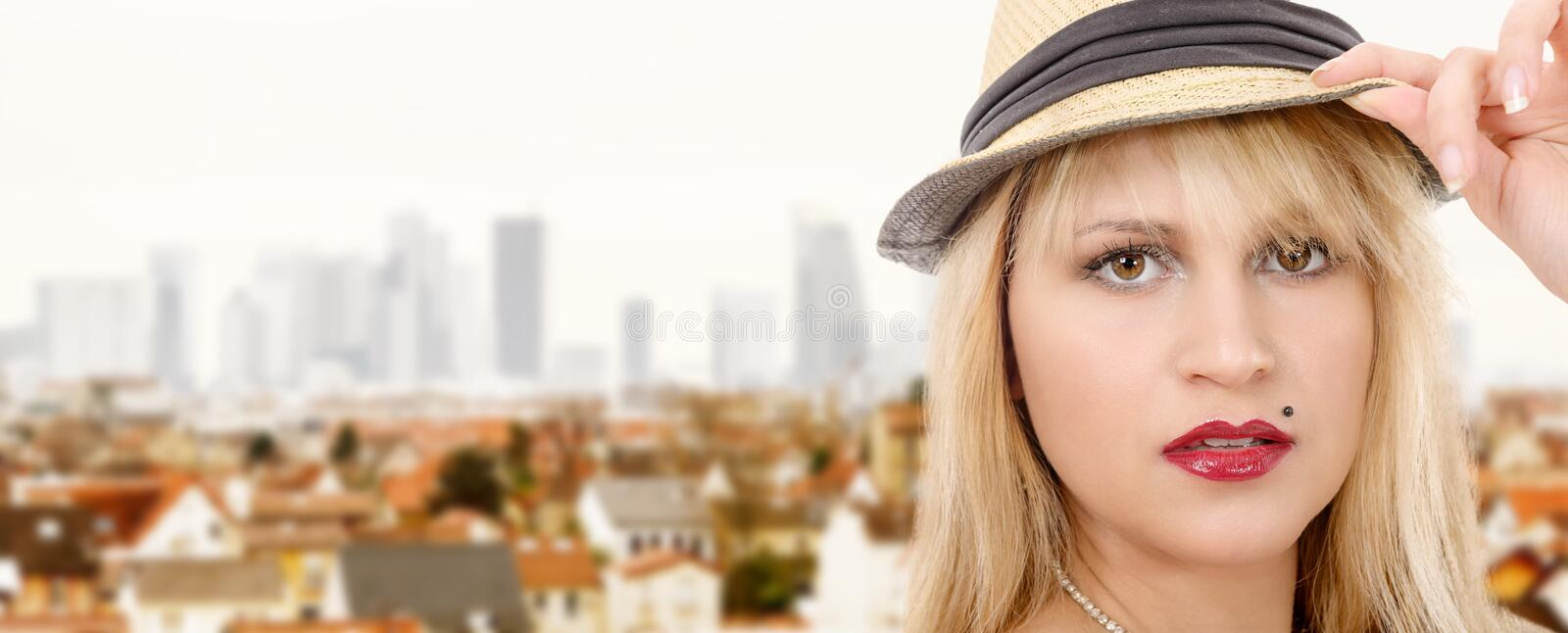 Beautiful young pretty blonde woman with summer hat, horizontal photo banner stock photography