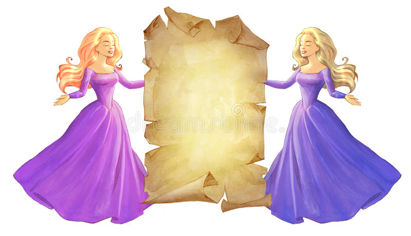 Beautiful young princesses vector illustration