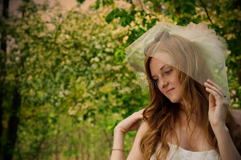 Beautiful young red-haired bride in nature royalty free stock image