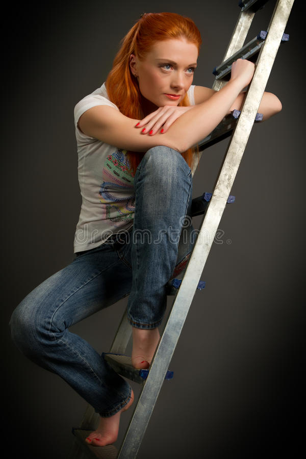 Beautiful young red-haired stock photo