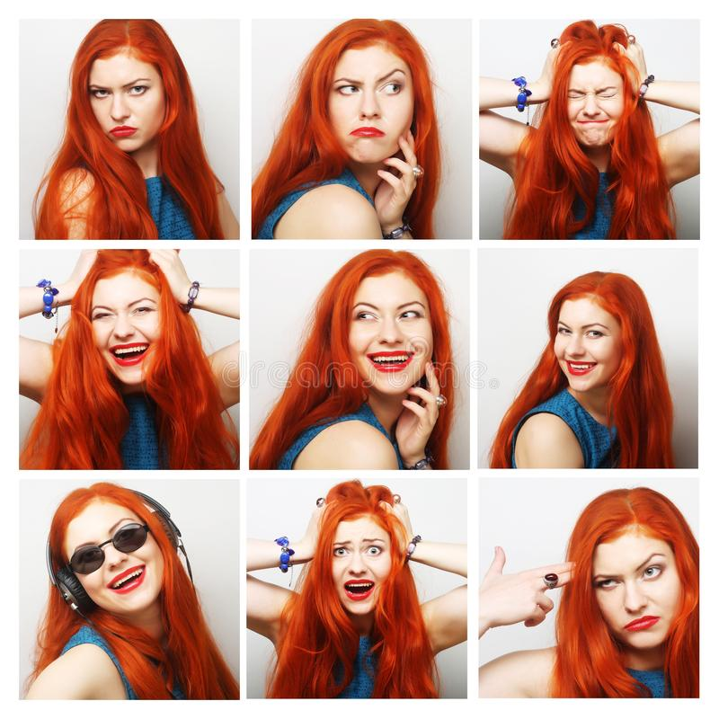 Beautiful Young Woman Collection of Expression. Beautiful Young Redhair Woman Collection of Expression royalty free stock images