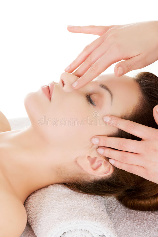 Beautiful Young Relaxed Woman Enjoy Receiving Face Massage At Sp Stock Photo