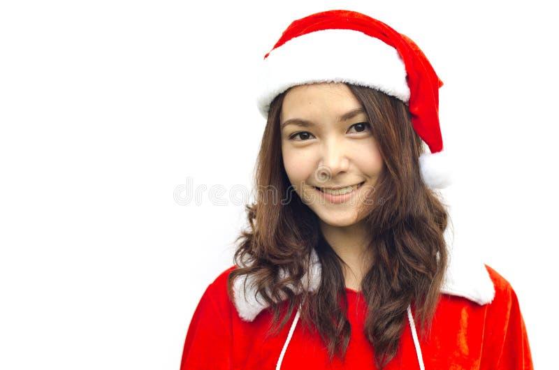 Beautiful young santa clause woman, royalty free stock photography