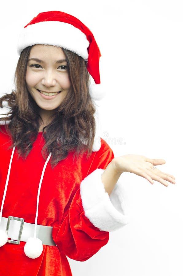 Beautiful young santa clause woman, royalty free stock photos