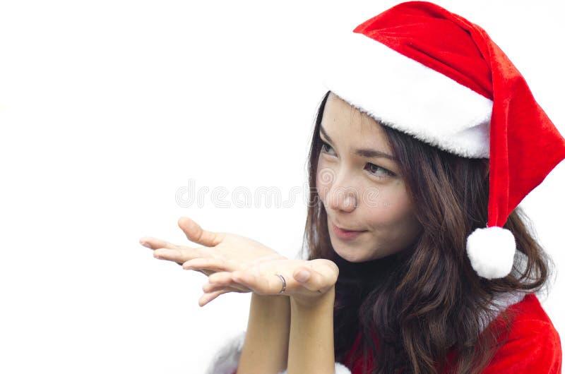 Beautiful young santa clause woman, royalty free stock image