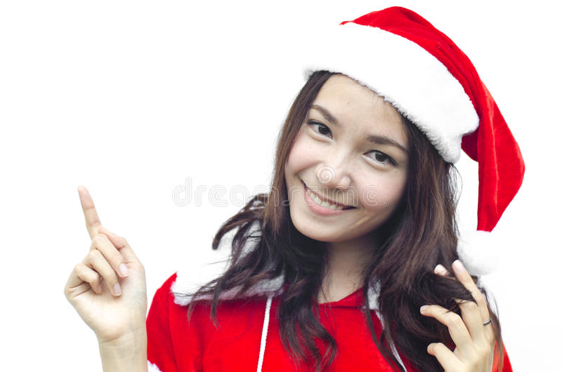 Beautiful young santa clause woman, royalty free stock images