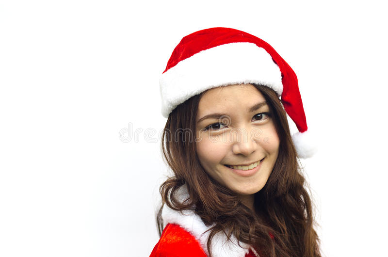 Beautiful young santa clause woman, isolated royalty free stock images