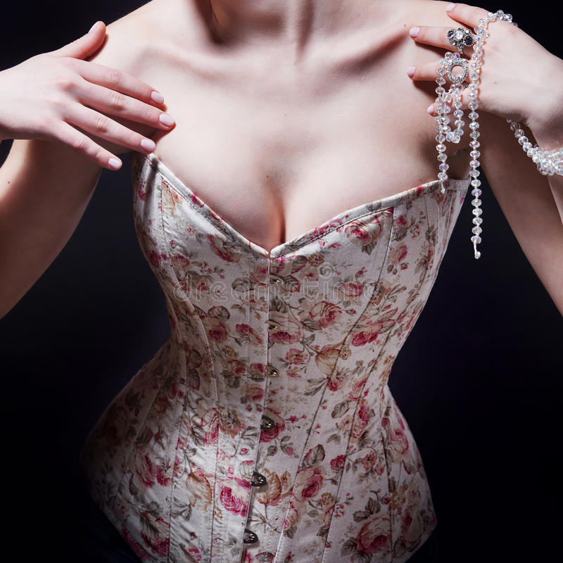 Download Beautiful Young Woman In A Corset With Floral Pattern Stock Image - Image: 83719661
