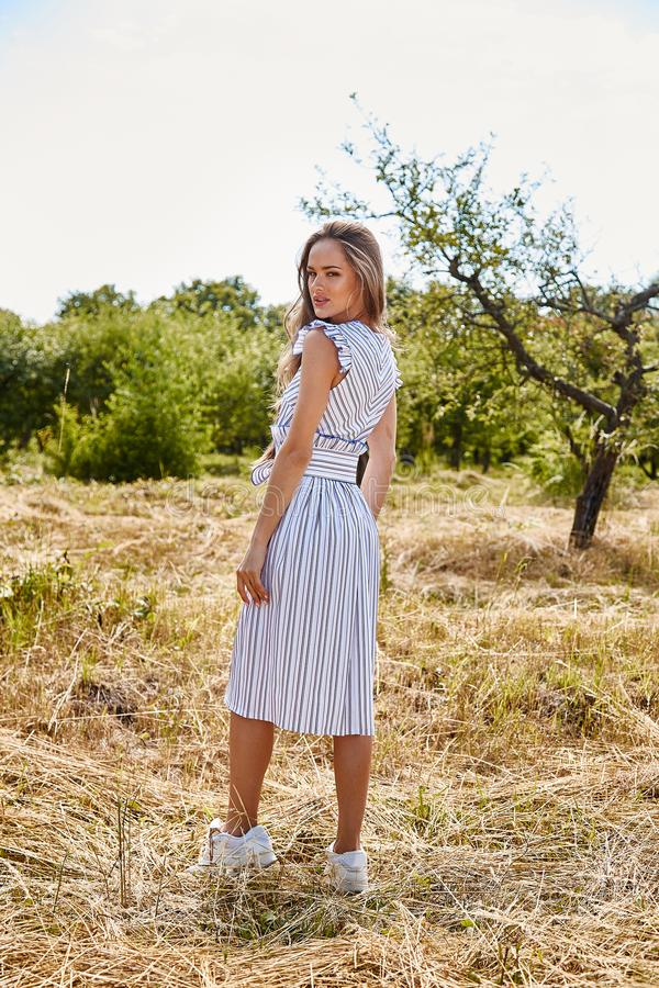 Beautiful young woman long hair bright makeup nature backgr. Ound landscape dry spike grass and apple trees garden summer model wear in light white cotton dress stock photography