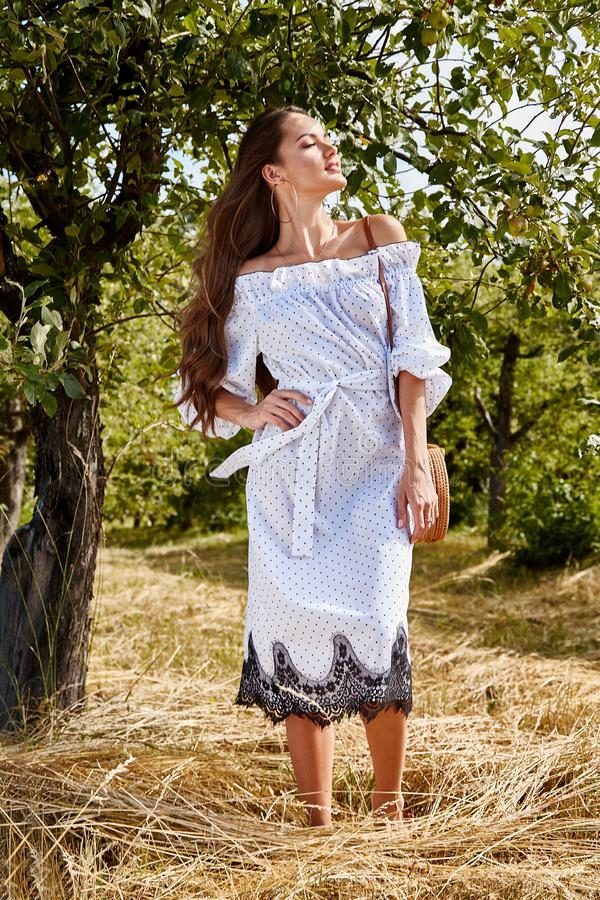 Beautiful young woman long hair bright makeup nature backgr. Ound landscape dry spike grass and apple trees garden summer model dressed in light white cotton royalty free stock photography