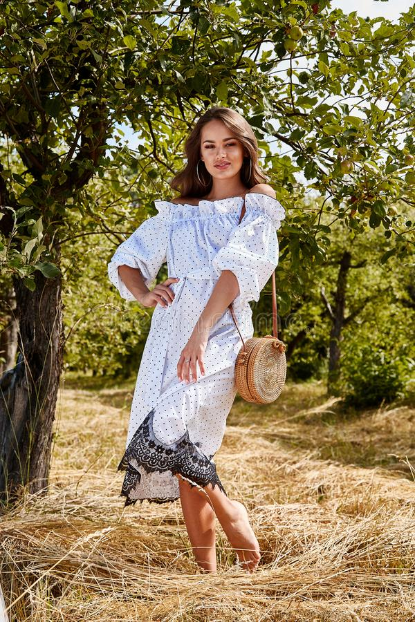 Beautiful young woman long hair bright makeup nature backgr. Ound landscape dry spike grass and apple trees garden summer model dressed in light white cotton stock photography