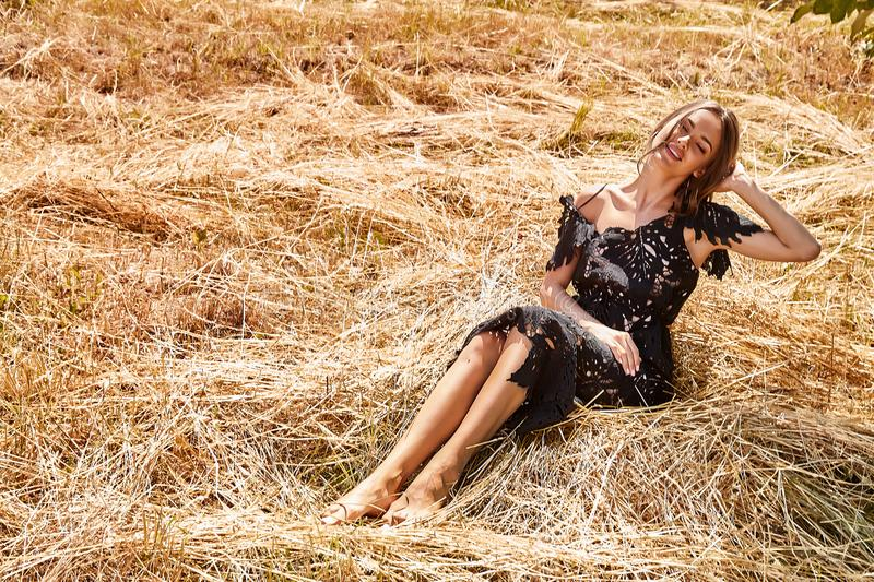 Beautiful young woman long hair bright makeup nature backgr. Ound landscape dry spike grass and trees garden summer model dressed in black lace dress accessory stock images