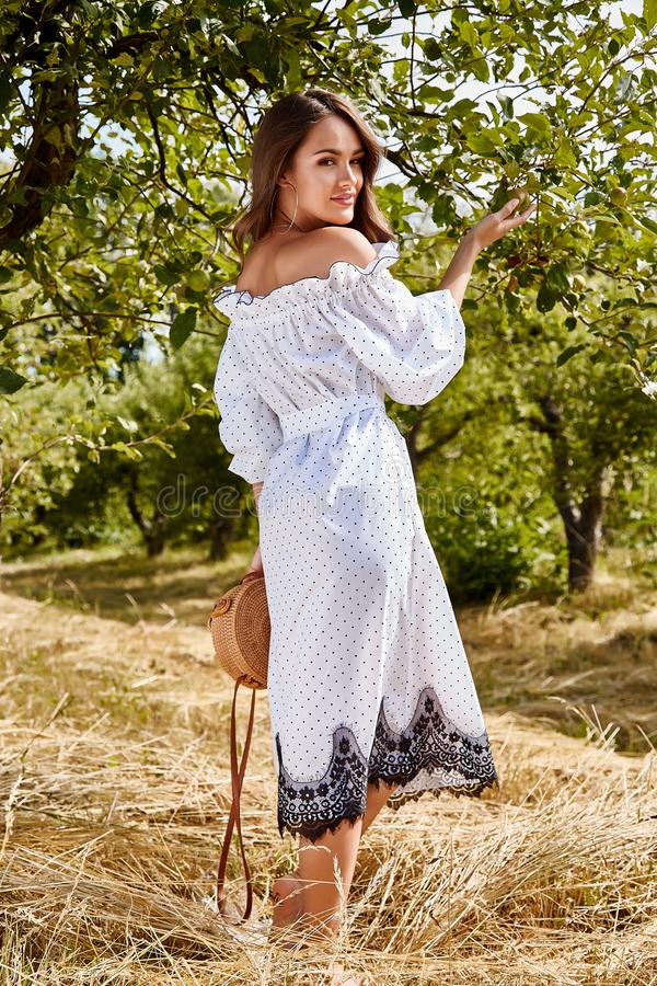 Beautiful young woman long hair bright makeup nature backgr. Ound landscape dry spike grass and apple trees garden summer model dressed in light white cotton stock image