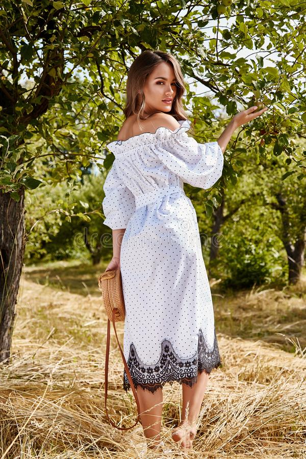 Beautiful young woman long hair bright makeup nature backgr. Ound landscape dry spike grass and apple trees garden summer model dressed in light white cotton royalty free stock images