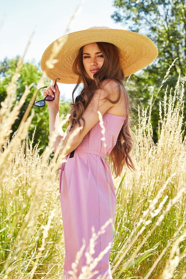 Beautiful young woman long hair bright makeup nature backgr. Ound landscape dry spike grass and trees garden summer model dressed in cotton dress accessory straw royalty free stock photo