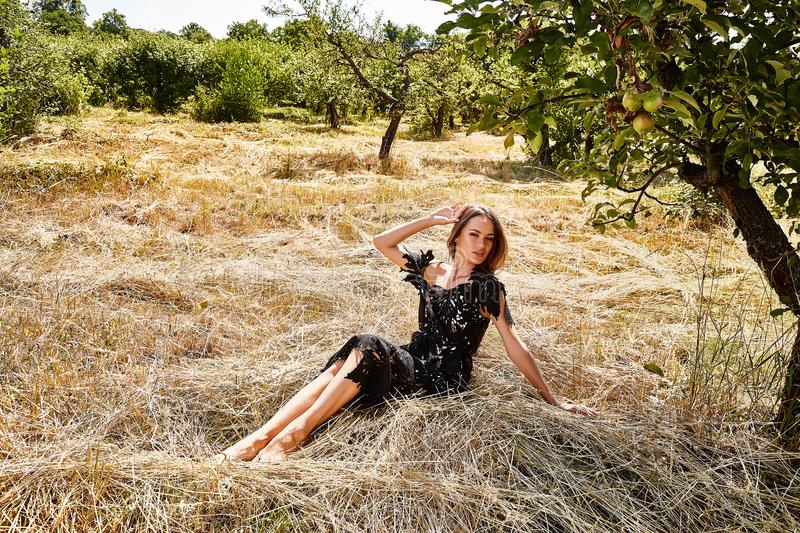 Beautiful young woman long hair bright makeup nature backgr. Ound landscape dry spike grass and trees garden summer model dressed in black lace dress accessory royalty free stock photos
