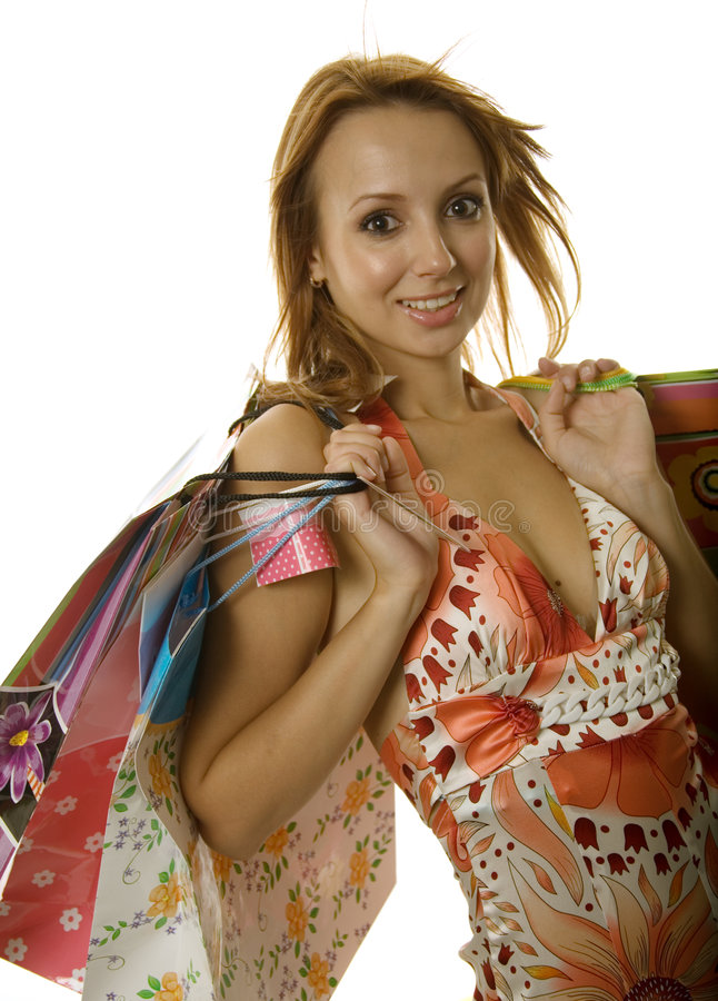 Beautiful Young Shopping Girl Stock Image