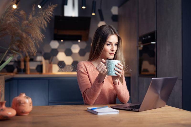 Beautiful young smiling woman working from home stock photos