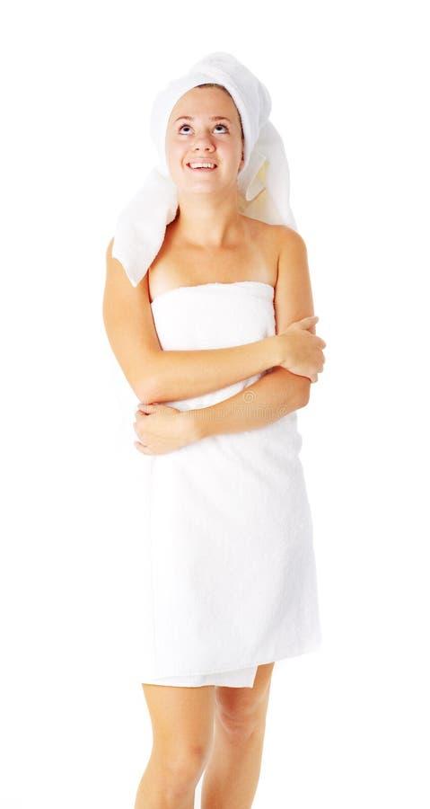 Download Beautiful Young Spa Vrouw Op Wit Stock Afbeelding - Afbeelding bestaande uit comfort, zorg: 10783677