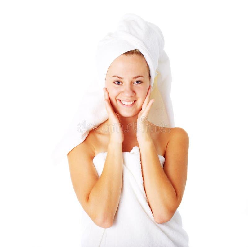 Download Beautiful Young Spa Vrouw Op Wit Stock Afbeelding - Afbeelding bestaande uit vers, clean: 10783681