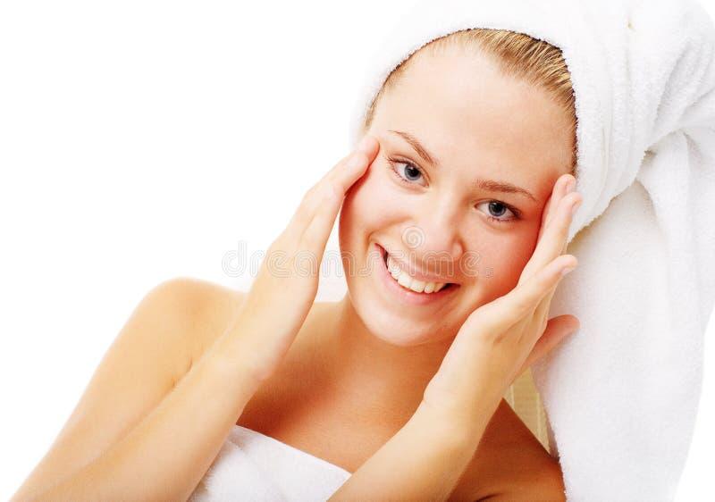 Download Beautiful Young Spa Vrouw Op Wit Stock Foto - Afbeelding bestaande uit schoonheid, hoofd: 10783714