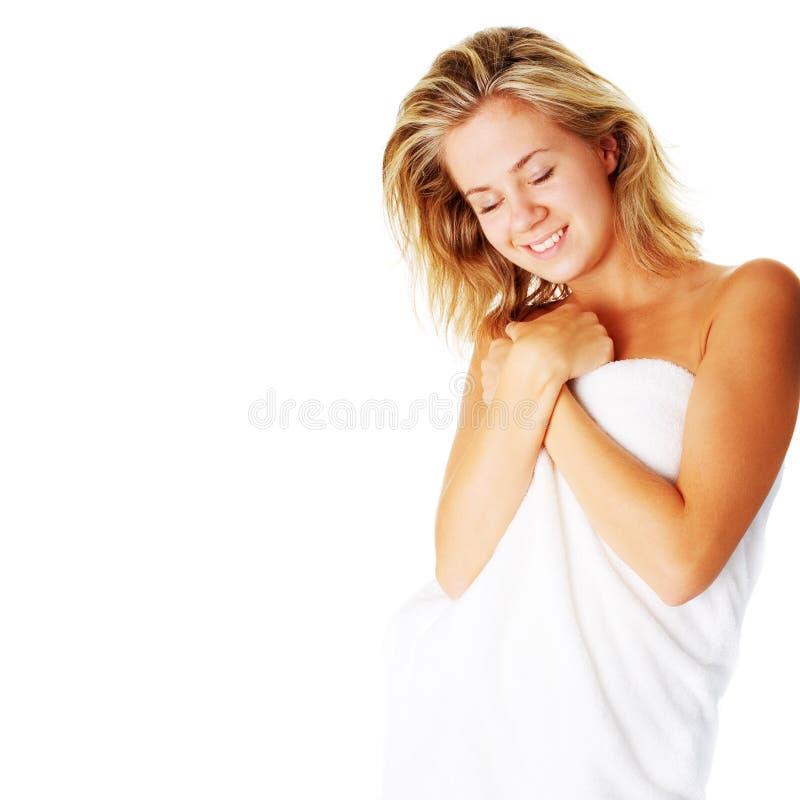 Download Beautiful Young Spa Vrouw Op Wit Stock Foto - Afbeelding bestaande uit holding, wijfje: 10783922