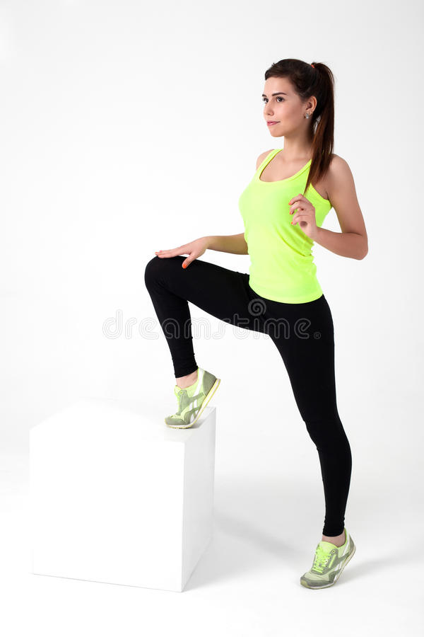 Beautiful young sports girl stock images