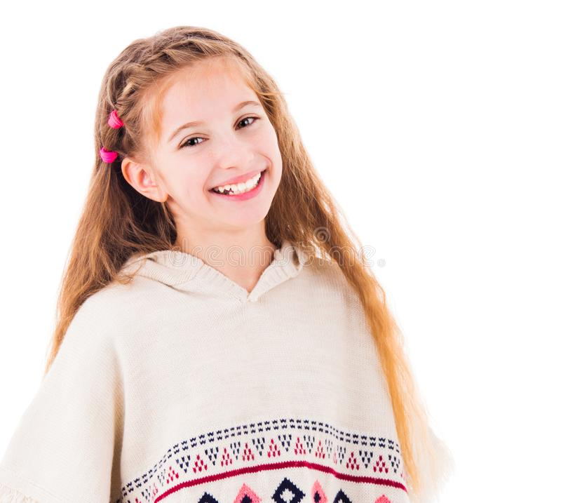 Young teen girl in poncho royalty free stock photography