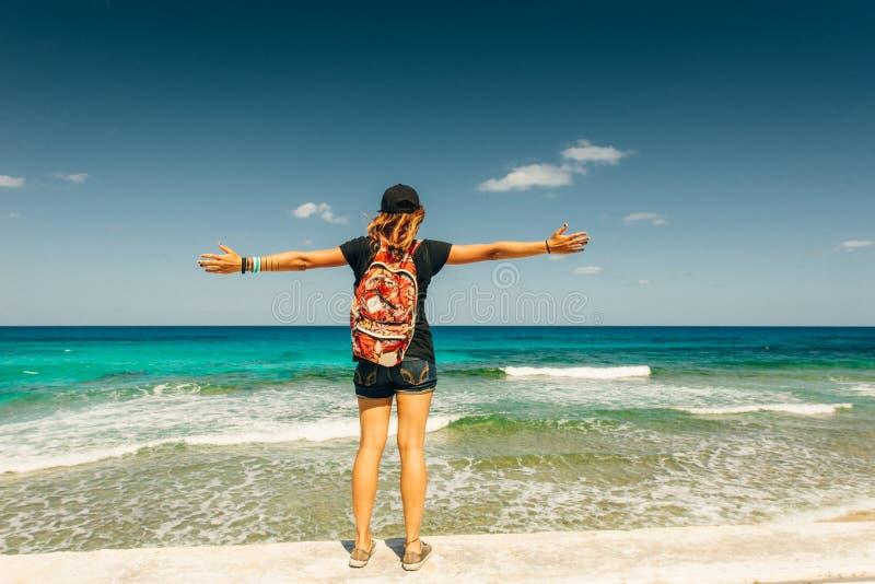 Beautiful young teen girl on Santa Monica beach in Los Angeles, California stock image