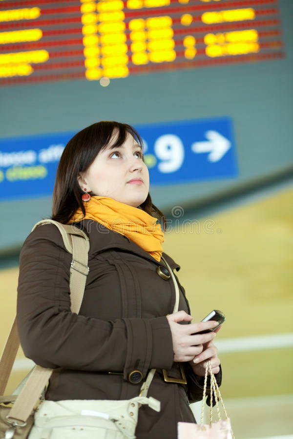 Download Beautiful Young Traveler In Airport Stock Image - Image: 23420975