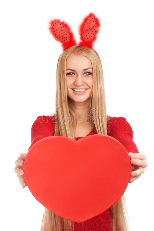 Download Beautiful Young With Valentines Heart In Hands Stock Photo - Image: 28647198