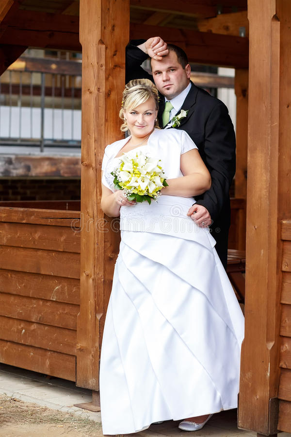 Beautiful young wedding couple. Bride with her groom stock photos