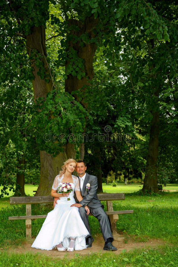 Beautiful young wedding couple. In park, sitting on bench, blonde bride with flower and her groom stock photography