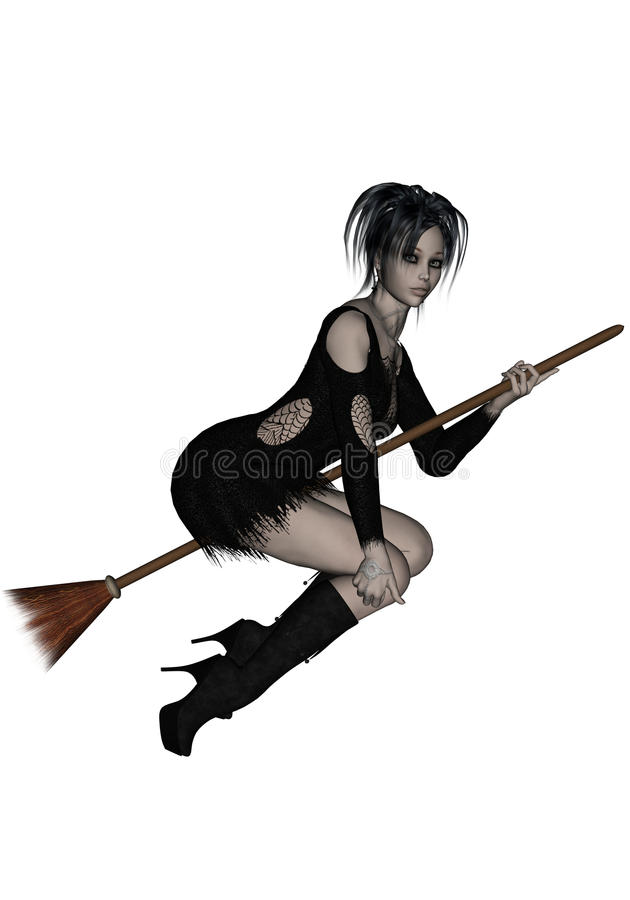 Beautiful young witch flying on her broomstick royalty free illustration