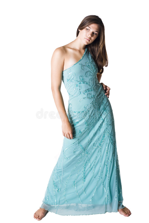 Beautiful young woman. Wearing lite blue evening gown royalty free stock images