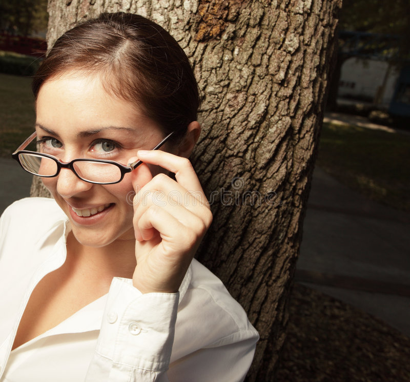 Download Beautiful young woman stock image. Image of glasses, head - 8833851