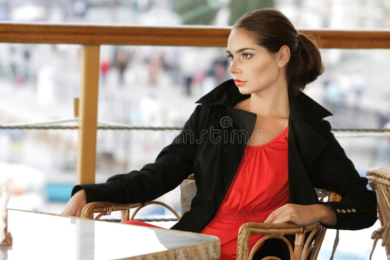 Download Beautiful Young Woman Alone In Street Cafe Stock Photo - Image: 16223620