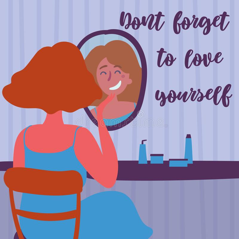 Beautiful young woman applying cosmetics. Don t forget to love yourself text. Feminism and self loving. Motivation poster. Red haired woman in front of fashion royalty free illustration