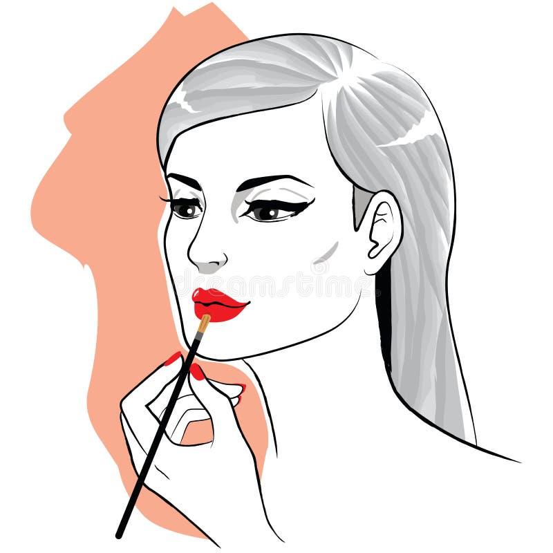 Woman Applying Makeup Lipstick royalty free illustration