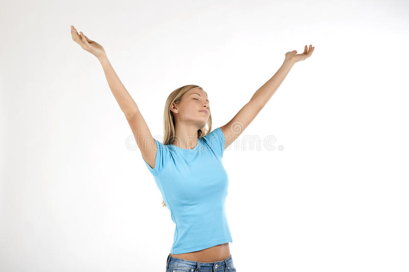 Download Beautiful Young Woman With Arms Raised Stock Photo - Image: 12431440
