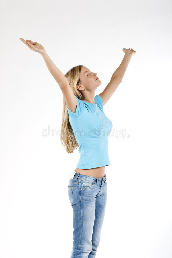 Download Beautiful Young Woman With Arms Raised Stock Image - Image: 12431519