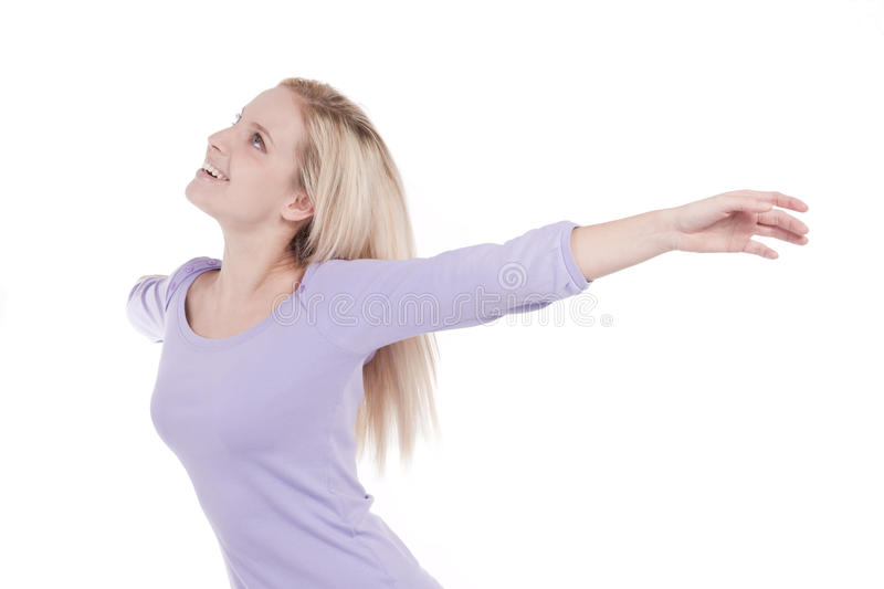 Download Beautiful Young Woman With Arms Raised Stock Image - Image of person, outstretched: 13183291