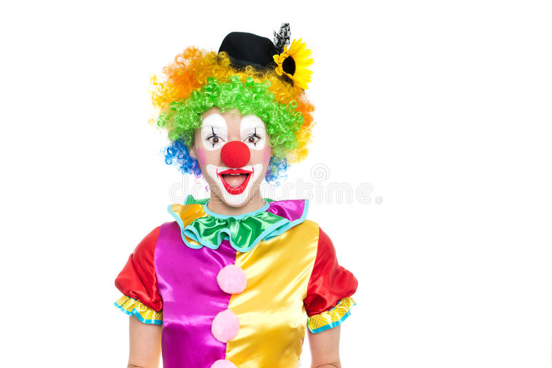 Beautiful young woman as clown royalty free stock images